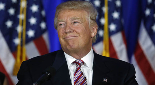 Republican U.S. presidential candidate Donald Trump speaks at a campaign in Briarcliff Manor