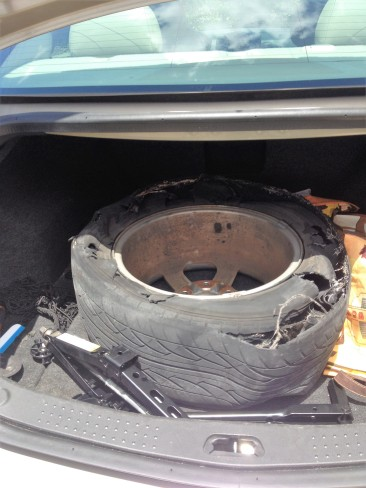 This is what the tire looked like when it blew.